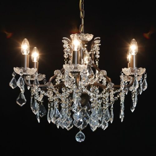 Antique French Cut Glass Bronze Chandelier 6 arm